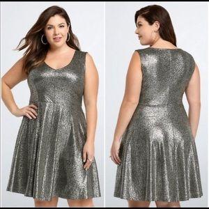 Torrid Silver Metallic Foil Skater Dress
